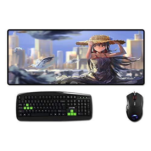 Muismat, Anime Cartoon strohoed leuk meisjes oversized waterdicht bekleed rubber muismat toetsenbord pad home office spel pad cadeau 300x700mm