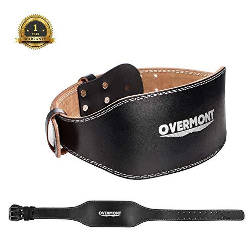 Overmont トレーニングベルト リフティングベルト レザー 牛革 筋トレ ウエイト 腰 ウエスト バーベル 1年保証