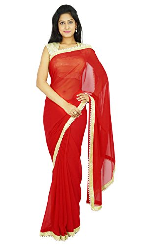 Parti Traditionnel Indien Porter Sari Designer Georgette Wedding Saree