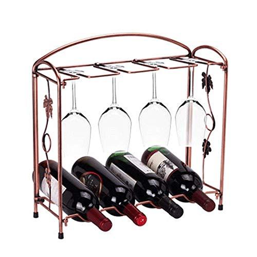 Estante de vino tradicional con 4 botellas de pie independiente, soporte de metal para almacenamiento de vino, soporte de bronce para el hogar, cocina, bar o barra húmeda