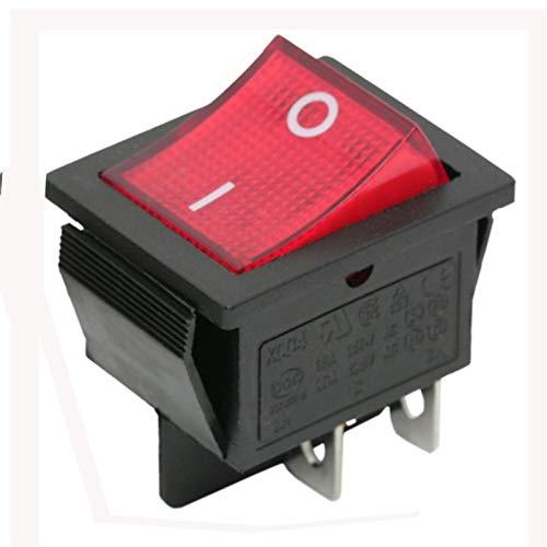 Beleuchtet rot Beleuchtung DPST Momentary Kippschalter ON-OFF-Snap in 22x 30mm 4pol