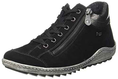 Remonte R1483, Zapatillas Altas Mujer, Negro (Schwarz/Altsilber/Schwarz 02), 36 EU