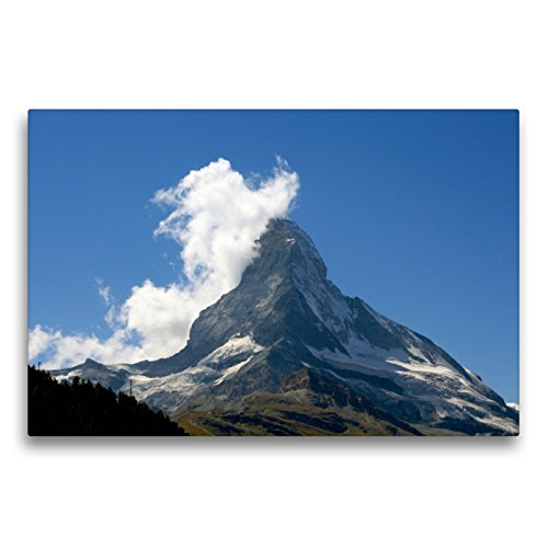 Premium Textil-Leinwand 75 x 50 cm Quer-Format Die Natur zeigt Herz am Matterhorn - Zermatt | Wandbild, HD-Bild auf Keilrahmen, Fertigbild auf hochwertigem Vlies, Leinwanddruck von Susan Michel
