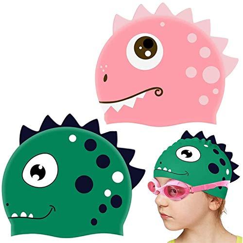 WENTS Cuffia da Nuoto Bambini 2PCS Cuffia Piscina Bambino in Silicone atossico Antiscivolo Impermeabile Cuffia da Nuoto per Dinosauri Adatto a Ragazzi e Ragazze