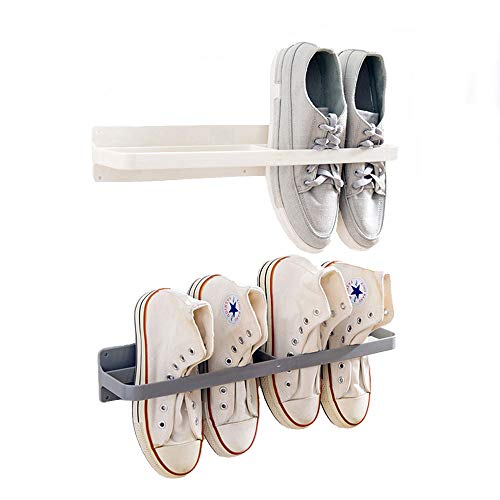 Esdella Shoes Rack Organizer Mounted Wall Storage Shelf Shoe Holder Keeps Any Shoes Off The Floor (Simple-Set of 2, White,Gray)