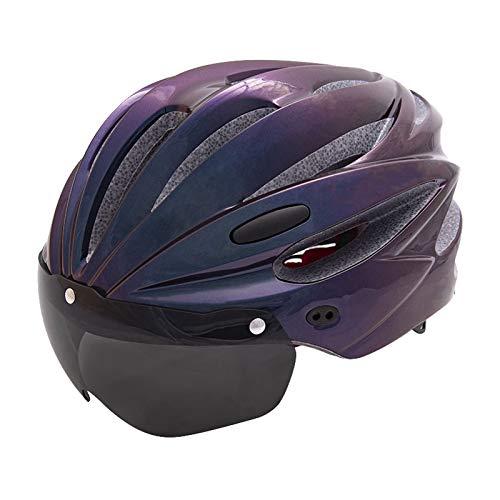 XYW Casco Adulto Cascos de Ciclismo - Bicicletas de Carretera de montaña con Gafas de Ciclismo Integrado Hombres y Mujeres Sombreros de Seguridad Ligero (Color : 04)