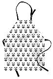 ABAKUHAUS Tatuaje Delantal de Cocina, Retratos del Oso Panda, Lavable Resiste Grasa Suciedad Polvo Colores Duraderos, Blanco Negro