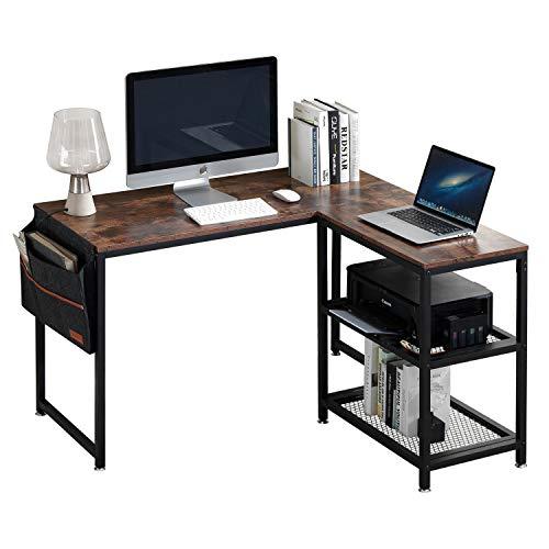 VECELO Computertisch L-förmiger Workstation-Ecktisch mit Aufbewahrungstasche Home-Office-Laptop-Tisch, Studiertisch, Schreibtisch, Industrietisch, Braun. (Brown, 120 * 48 * 75cm)