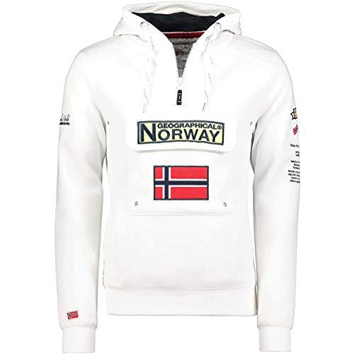 Geographical Norway GYMCLASS Men - Sudadera Capucha Bolsillos Hombre - Chaqueta Casual Hombres Abrigo - Camisetas Camisa Manga Larga - Hoodie Deportiva Regular Fitness Jacket Tops (Blanco M)