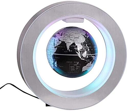 ZSMLB World globe decoration 4 Inch Floating Rotating Globe with LED Light,Black Magnetic Globe for Children Gift Home Office Desk Decoration-Gold