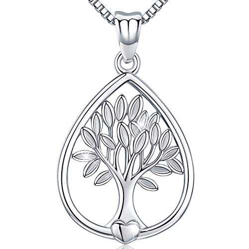 Friggem Water Drop Shape Tree of Life Sterling Silver Necklace & Pendant for Women & Men, Mother's Day Gift