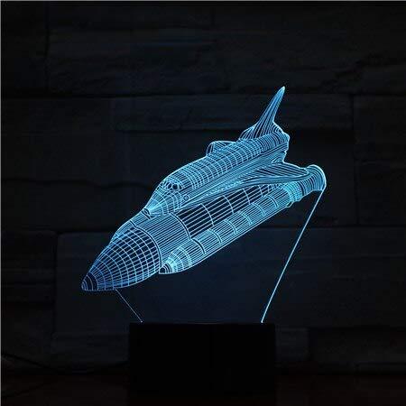 Solo 1 pieza Novedad Lámpara 3D del transbordador espacial multicolor con control remoto para recompensa de Halloween Lámpara de luz nocturna LED con ilusión 3D