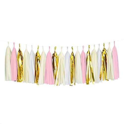 Ukmaster 20PCS DIY Tassels Paper Garland Tissue Paper Glitter Gold Tassel Garland For Bridal Shower Decorations Birthday Wedding Bachelorette Party Decor