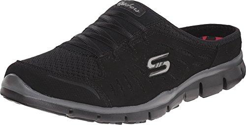 Skechers Sport Women's No Limits Slip-On Mule Sneaker, Black/Black, 6 W US