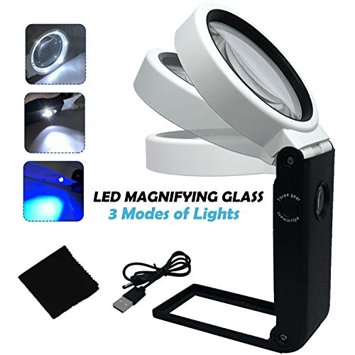 LED Magnifying Glass with Light and Stand Hands Free, 6X 25X Adjustable Folding Design Magnifier with LED Lighted, Portable Illuminated Magnifying Glass for Reading, Soldering, Hobbies, Jewelry &Craft