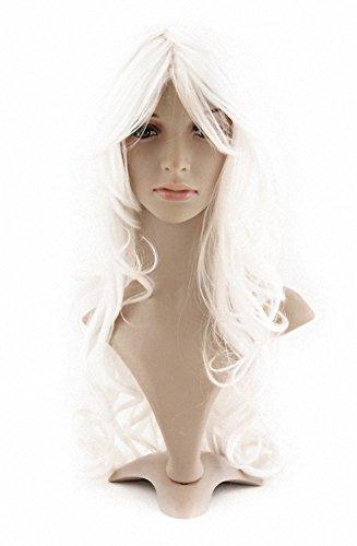MapofBeauty Perruque longue ondulée en fibre synthétique pour femme Blanc