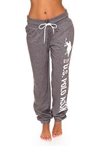 U.S. Polo Assn. Essentials Womens Printed French Terry Boyfriend Jogger Sweatpants Charcoal Heather Small