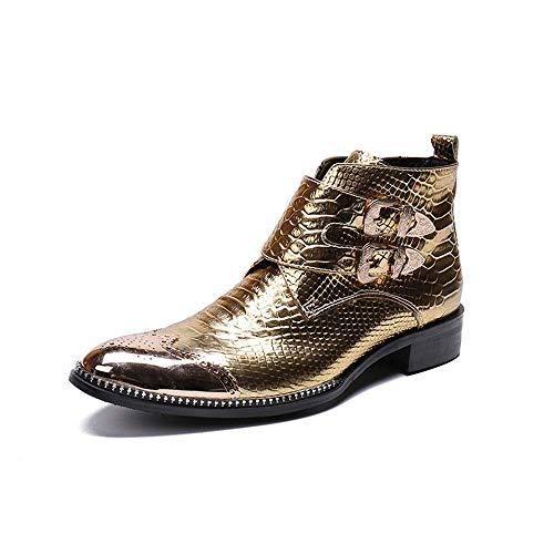 Stiefeletten für Herren High Top Chelsea Stiefel Casual Retro Schlangenleder Chelsea Stiefel Metallspitze Zehen Praktische Reißverschluss Abendschuhe,Gold,38 EU