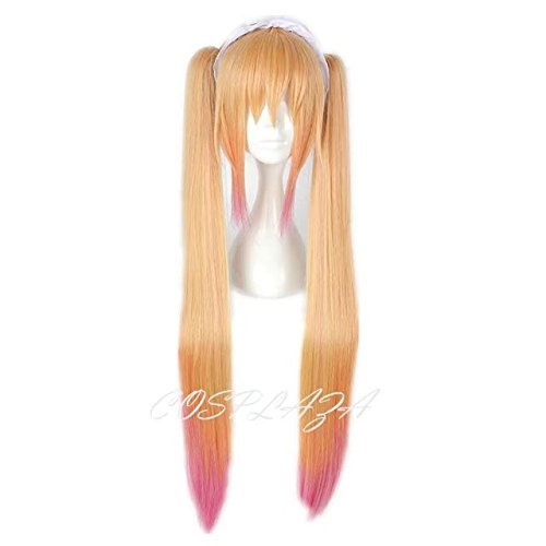 COSPLAZA Perücke lang gerade Orange Pink Mixed Mädchens Cosplay Wig Anime Hair with Pony