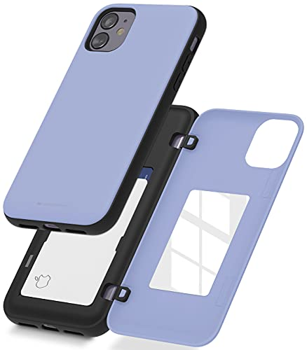 Goospery iPhone 11 Wallet Case with Card Holder, Protective Dual Layer Bumper Phone Case (Lilac Purple) IP11-MDB-PPL