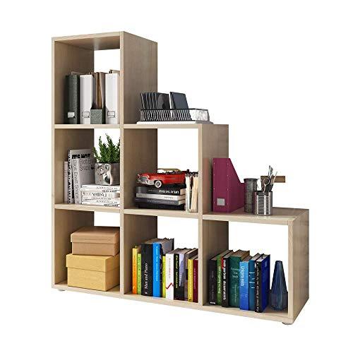 Kassi - Bücherregal/Treppenregal 3X3 Mit 6 Fächern In Sonoma Eiche Matt 105X108Cm