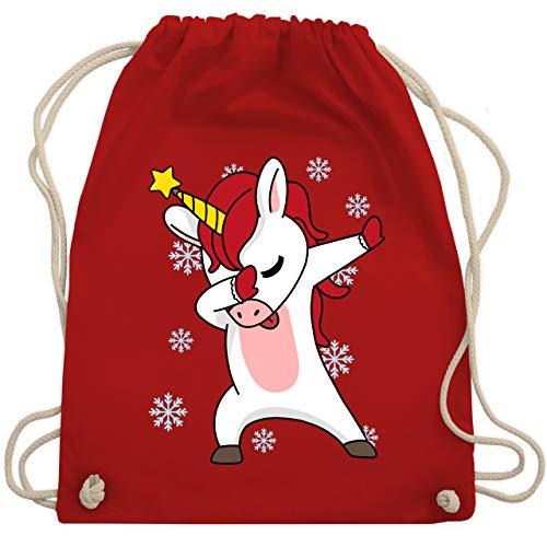 Shirtracer Weihnachten Kind - Christmas Einhorn Dab - Unisize - Rot - Weihnachten - WM110 - Turnbeutel und Stoffbeutel aus Baumwolle