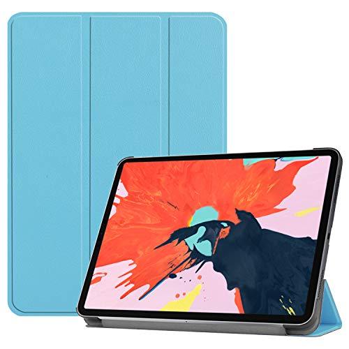 3-voudig lederen hoesje voor iPad Pro 11-inch scherm 2018, Folio PU Ultra Slim Fit Beschermende Auto Sleep/Wake Magnetische Flip Tablet Cover, 12.9-inch display, Blauw