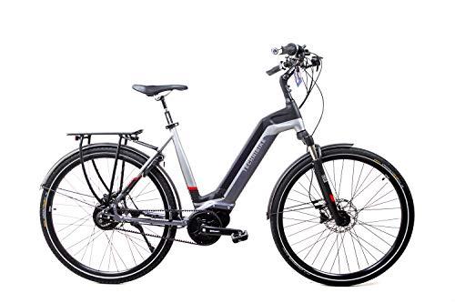 41B0s edn3L - 28 Zoll TechniBike City Pedelec E Bike Riemen N330 Nabenschaltung Akku 70N Grau Rot Gr.L