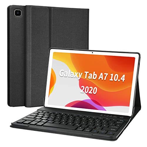 Tastatur Hülle für Samsung Galaxy Tab A7 10.4'' 2020 (SM-T500/T505/T507), Ultradünn leicht Schutzhülle mit magnetisch Abnehmbarer drahtloser Deutscher QWERTZ Bluetooth Tastatur (Black)