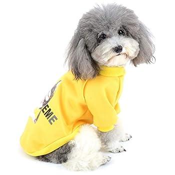 Zunea Vetement pour Petit Chien Manteau Hiver Pull-Overs Sweat en Coton Rembourré Chiot Veste Costume pour Chien Chat Yorkshire Chihuahua Jaune S