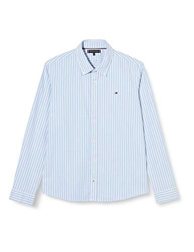 Tommy Hilfiger Jungen Essential Stripe Oxford L/s Hemd, Blue, 92