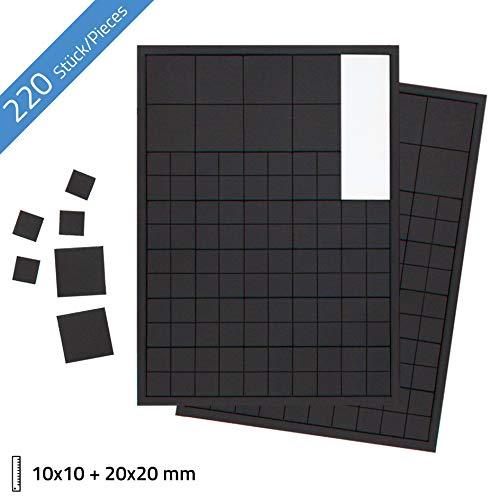 Beilheimer 220x Magnetplättchen 10 x 10mm und 20 x 20mm. Selbstklebende Magnet-Plättchen für Postkarten, Fotos und Poster