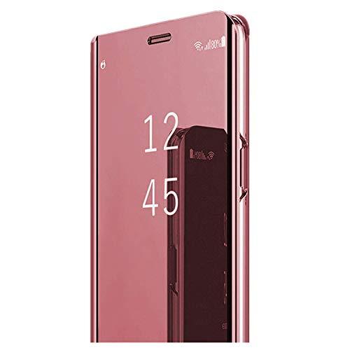 Samsung Galaxy J3 J5 J7 2017 Cover Custodia a portafoglio per Galaxy J3 J5 J7 2017 Custodia Flip Case Clear View Cover a Tutto Tondo Protezione PC Duro Case (Rose Gold, Samsung Galaxy J5 2017)
