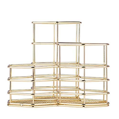 Namgiy Metall Stifthalter, Multifunktions Schreibtisch Organizer Hexagonal Hohl Aufbewahrungsbox Make-up Pinselhalter Bürobedarf Gold
