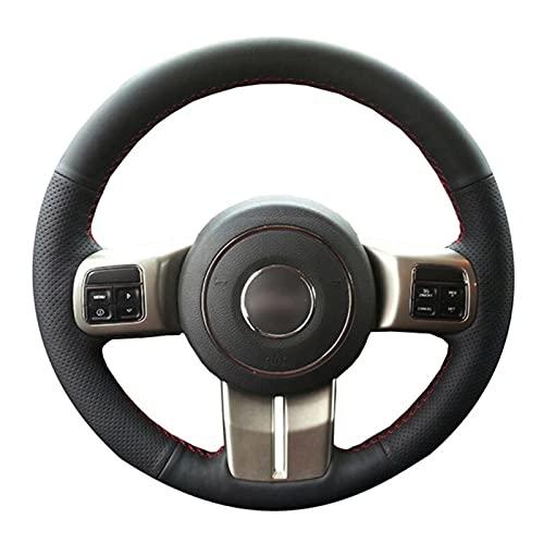 Ajuste para Jeep Compass Grand Cherokee Wrangler Patriot 2012-2014 Cubierta de Cuero para Volante de Coche Cosida a Mano