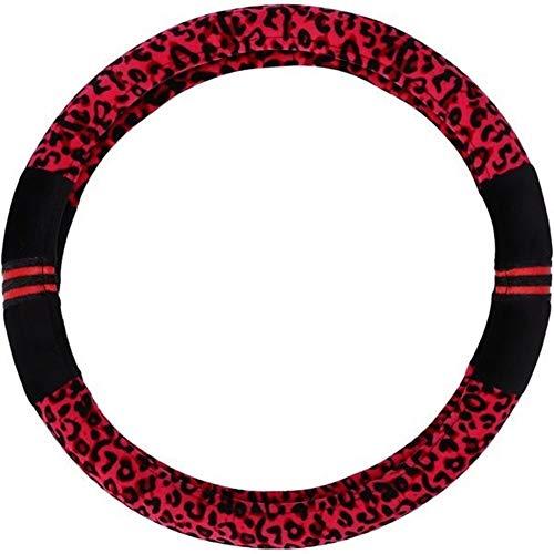 Dirección de Coches Cubierta de Rueda de la Moda del Estampado Leopardo de Felpa, un Ajuste Universal, Mantener Caliente el Coche, Apto for Hombres y Mujeres, Hermosa Apariencia (Colore : Red)