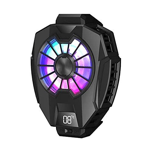 QAIYXM Refrigerador de teléfono, radiador de teléfonos celulares, radiador de telefonía móvil portátil para Juegos con DIRIGIÓ Pantalla Digital, Compatible con teléfono Inteligente 6.5-8.5cm (Negro)