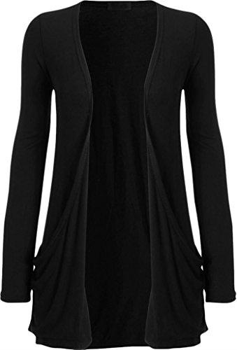 ZJ Clothes Ladies Women Boyfriend Open Cardigan with Pockets Black