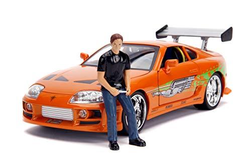 Jada Toys 253206001 Fast & Furious 1995 Toyota Supra, Spielzeugauto, öffnende Türen, Kofferraum, abnehmbare Motorhaube, inkl. Die-cast Figur Brian O'Conner, Maßstab 1:18, orange