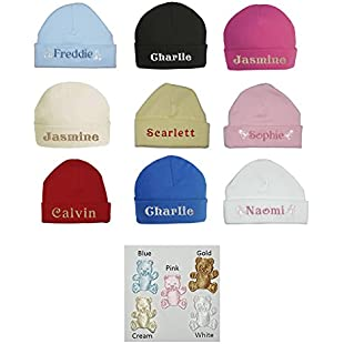 100% Super Soft Double Layered Cotton Personalised Embroidered Baby Hat - Available in sizes 0-3, 3-6 and 6-12 months and 9 colours to choose from:Viralbuzz