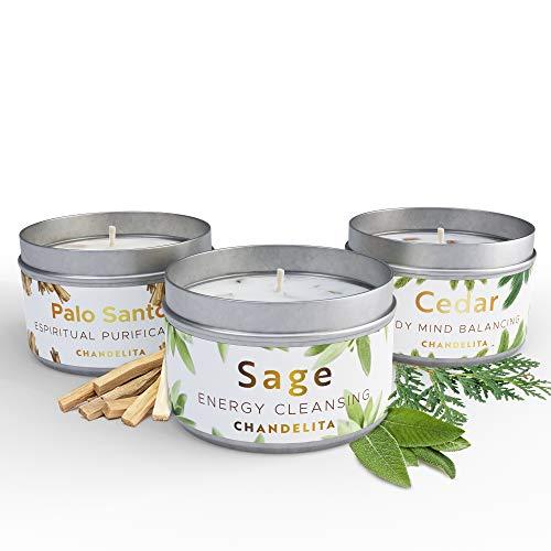 Chandelita Candele Profumate per Aromaterapia alla Salvia, Cedro e palo Santo con Cera di soia per Pulire l'energia, guarire a Livello Spirituale, Combattere la stanchezza e favorire la Meditazione