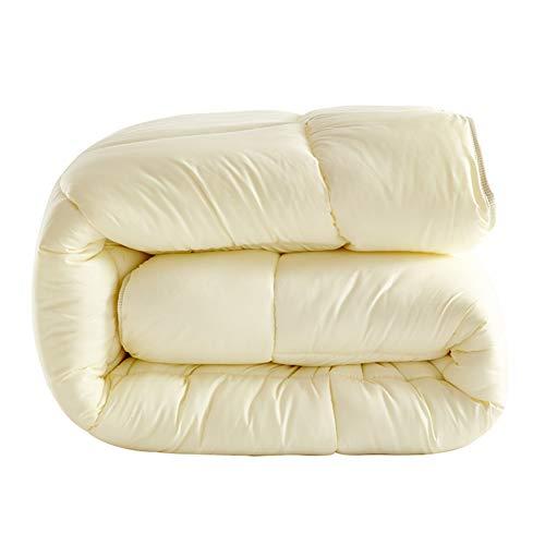 YXDDG Luxury Goose Down Alternative Comforter Plush Microfiber Fill Insert All Seasons Solid White Hypo-allergenic 1200 Thread Count 750+-Beige 180x220cm(71x87inch)