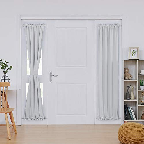 Deconovo Thermal Insulated Blacktout Curtains Patio Door Curtain Panel Rod Pocket Sliding Window Curtain 25 Inch by 72 Inch Greyish White 2 Panels