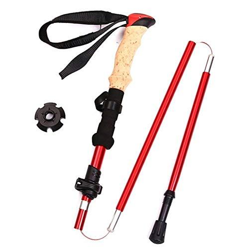 N\A Bastones de Trekking, Ultraligero Plegable Plegable de Trail Running Sticks Senderismo a pie de Fibra de Carbono Bastones de Trekking Ligero Bastones (Color : Red)