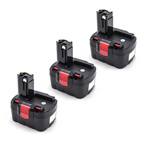 vhbw 3x Batería reemplaza Bosch 2 610 909 013, 2607335533, BAT040, BAT041, BAT140, BAT159 para herramientas eléctricas (1500mAh NiMH 14,4V)