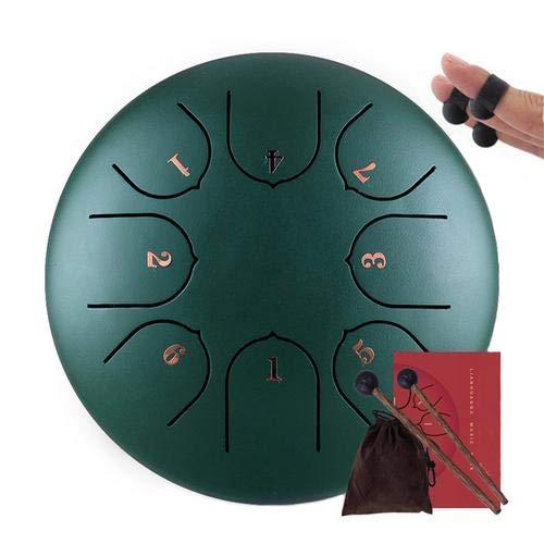 Adminitto88 Portable Steel Tongue Drum 6 Zoll Percussion Instrument Pan Drum 8 Noten Stahl Tongue Pan Drum Zungentrommel Handpan Brahma Trommel Instrument Für Meditation Yoga Musiktherapie Camping