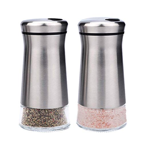 bonris Stainless Steel Salt and Pepper Shakers Set Stainless Steel with Glass Bottom Salt and Pepper Shakers with Adjustable Pour Holes