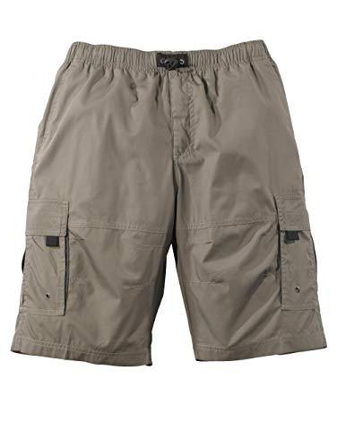 Men Plus by HAPPYsize Herren Schlupf-Bermuda – Kurze Freizeit-Hose aus Baumwoll-Mix, Shorts mit Gummizug-Bund, Sommer-Hose in Khaki Gr. 60/62