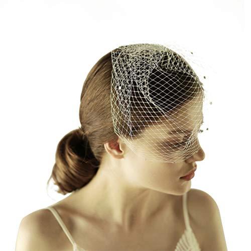 Vintage voile de mariée à la main court couvert de gaze de maille de visage avec brillant strass coupé bord accessoires de mariage en tulle (blanc ivoire)