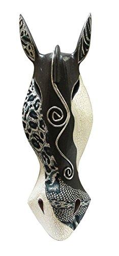 Máscaras de madera decorativo abstracto negro/blanco Zebra Safari africano pared máscara África Decor 20pulgadas, 6x 20x 3pulgadas marrón Modelo # in4120–20BW